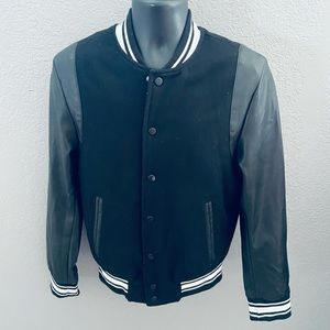 H & M Faux Leather Sleeve Classic Varsity Jacket